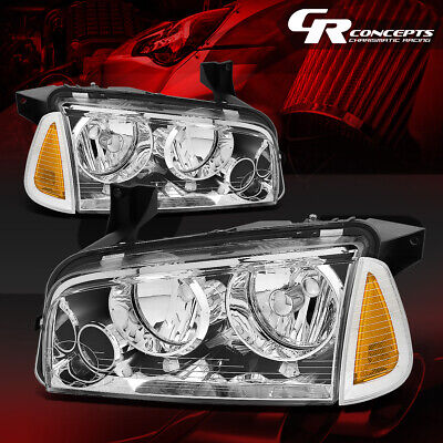 4Pcs Of Chrome Housing Headlight+Amber Signal Lamp Lh+Rh For 06-10 Dodge Charger