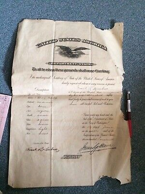Vintage Passport 1890 Rare James G. Blaine Signature Signed Secretary State rare