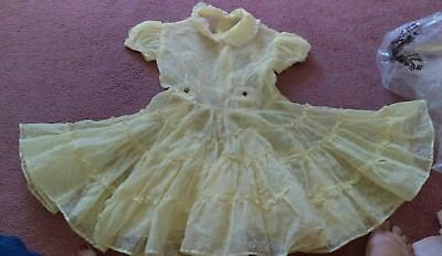 Vintage 1950s Yellow Flocked Floral Sheer Organdy Baby Infant Girl Party Dress