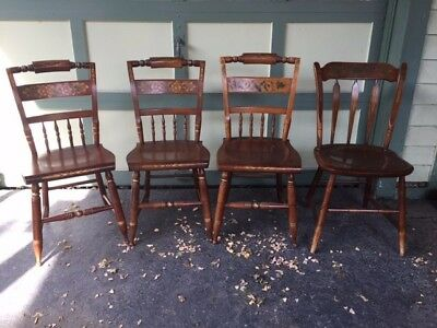 4 Beautiful Solid Seat Hitchcock Chairs