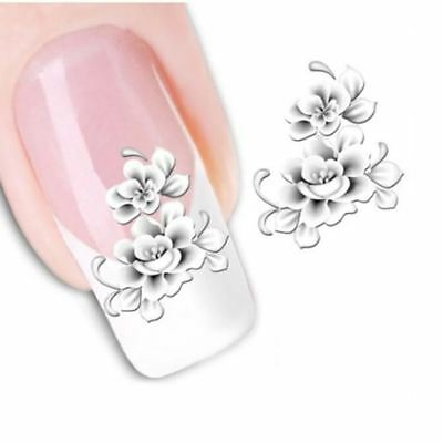 Nail Art White Flower Nail Beauty Decals French Tips Water Transfer Nail Sticker