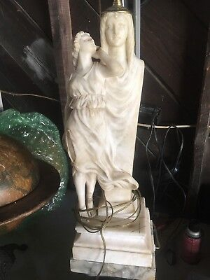 ANTIQUE EARLY carved 20th CENTURY figural CARVED MARBLE MARBLE LAMP ON A  BASE