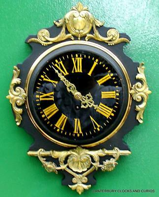 Japy Freres 8 Day Antique French Ebonised Ormolu Cartel Clock
