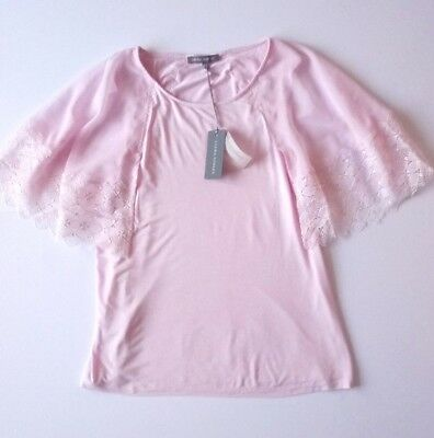 Laura Ashley Womens Pink Lace Top Floaty Sleeves Soft Stretch Fabric Uk 14 New