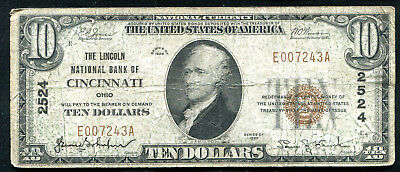 1929 $10 The Lincoln Nb Of Cincinnati, Oh National Currency Ch. #2524