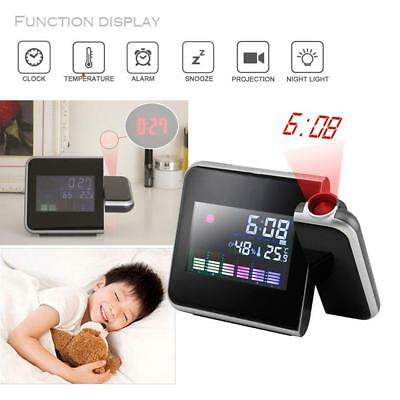 Projection Digital Weather LCD Snooze Alarm Clock Color Display LED Backlight T-