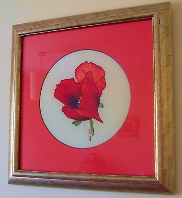 """""""Californian Poppy"""" Hand-embroidered Art, mounted & framed, unique artwork"""