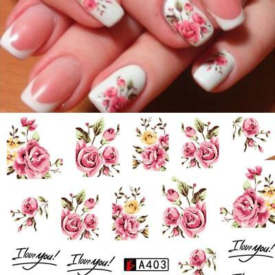 Rose Flower Nail Art Stickers Water Transfer Nail Decals Decoration Nails Set