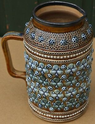 Very Old Doulton Lambeth Shell Decorated Jug With Hallmarked Silver Rim To Top