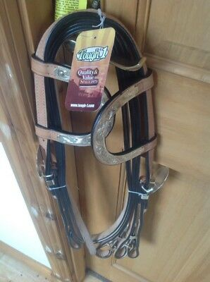 **NEW** Tough 1 two ear western show bridle and split reins