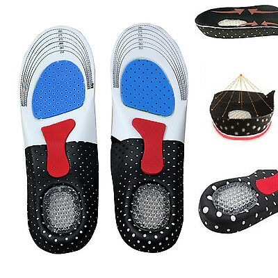Men Gel Orthotic Sport Running Insoles Shoe Pad Insert Arch Support Cushion New