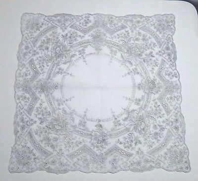 Vntg. Madeira Embroidery Linen Hanky-Heavily Detailed Hand Work-Gorgeous Wedding