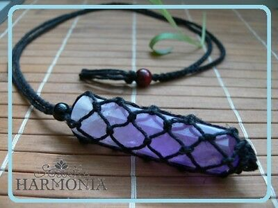 Hand Made Hemp Macrame Pouch Necklace(Interchangeable) Black with Amethyst point