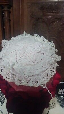 Exquisite  Ladies Headpiece Torchan Bobbin Lace  Cap