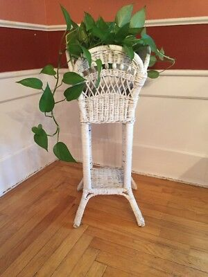 """VINTAGE WHITE WICKER 2 TIER PLANT STAND CHIPPY PAINT SHABBY CHIC 32"""" Tall"""