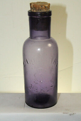 Vintage Embossed E Coudray A Paris Purple Perfume Bottle 6 1/2''