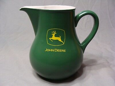 "Green 7"" Tall John Deere Crockery Stoneware Pitcher, Holds 38 oz."