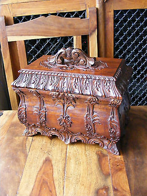 Lovely Victorian Antique Vintage Tea Caddies Carved Wooden Box with Inner Tray