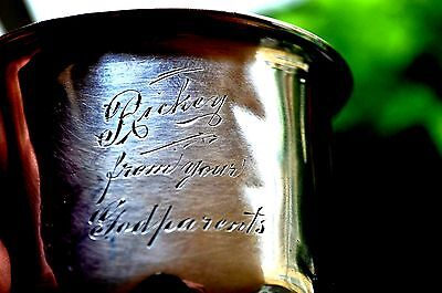 "ANTIQUE STERLING SILVER  0.925 -  Baby/ Child Cup with ENGRAVED NAME  ""RICKEY"""