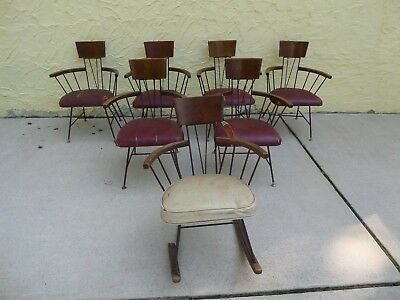 Paul Mccobb Mid Century Modern Wrought Iron Chairs Set Of 6 + Rocking