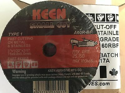 10 General Purpose Cut Off Wheels, 3 inch x 1/32 inch x 3/8 in, KEEN 13011
