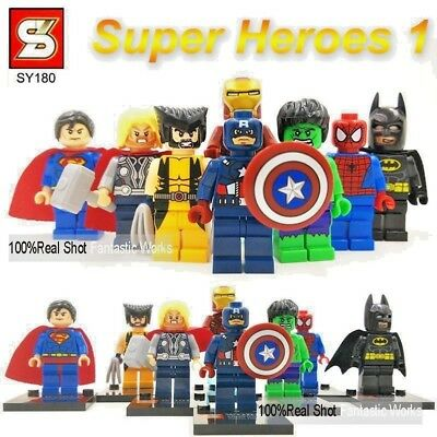 8 Pcs MARVEL DC UNIVERSE MINI FIGS THE AVENGERS SUPER HEROES TOY GIFT FIT LEGO