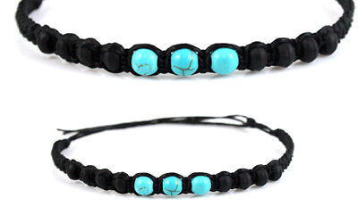 Black Turquoise Beaded Anklet Braided Mens Womens Boho Gypsy