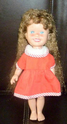 "Beautiful 1985 Playskool Dolly Surprise Brunnette Doll Toy 10 "" With Red Dress"