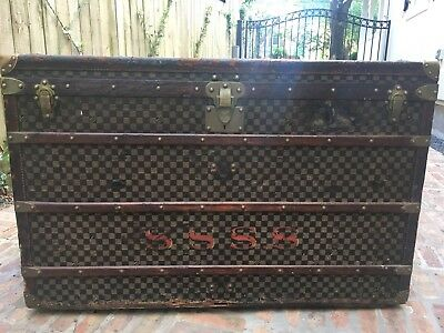 Antique HUGE Louis Vuitton Damier Checkerboard Steamer Trunk French Paris 1899