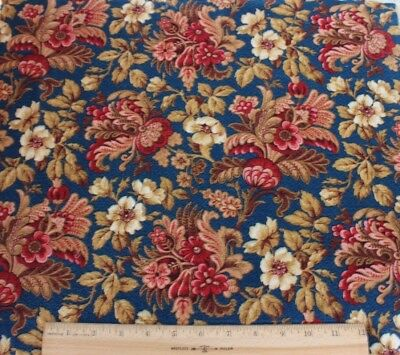 Antique French Indigo Ground Printed Indienne/Jacobean Fabric c1870