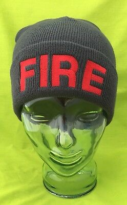NEW Embroidered FIRE Gray Stocking Cap