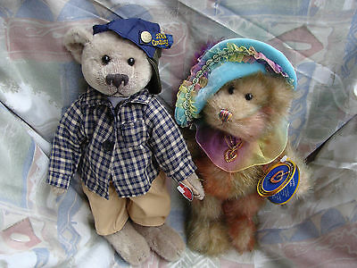 """PICKFORD BEARS """"BRASS BUTTON"""" x2 LIKE NEW! BENNET AND HARLOW GENUINE EMERALD!"""