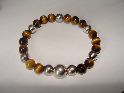 925 Sterling Silver Milor Bracelet Tiger Eye Italy