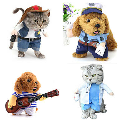 Fashion Pet Dog Cat Puppy Clothes Cowboy Police Halloween Costume Suit