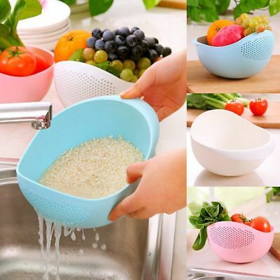 Rice Vegetable Basin Wash Sieve Plastic Fruit Bowl Colander Wash Basket Random