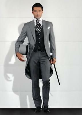 Men Gray Formal Tailcoat 3 Piece Suit Groom Tuxedos Suit Wedding Suit Custom