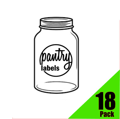 Kitchen, Food, Pantry Labels, Stickers, Decals 18pack