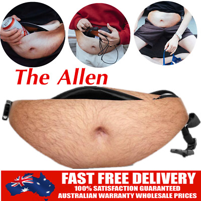 Dad Dad Bod Waist Belt Bum Bag Leather Hairy Beer Fat Belly Fanny Pack Pouch KK