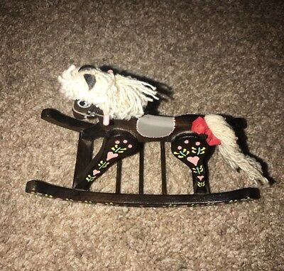 Vintage Hand Painted Wooden Miniature Rocking Horse