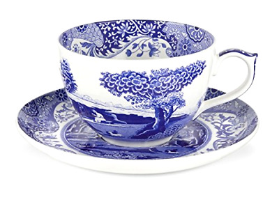 Jumbo Cup and Saucer Spode Blue Italian Pattern 20 Ounce Capacity In Porcelain