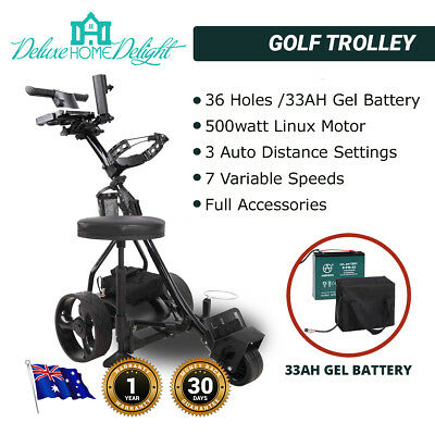 36 Hole Electric Golf Trolley Cart 500 Watt Motor 33Ah Battery Full Accessories