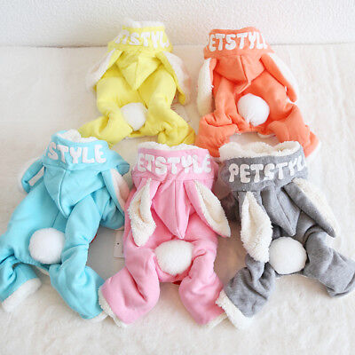 Rabbit Logo Dog Jumpsuits Rompers Warm Coats Clothing For Dogs Pet Cat Clothes