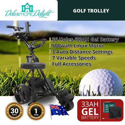 Electric Golf Trolley Buggy 36 Holes 33 AH Battery Complete Accessories 2018