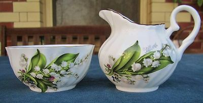 Staffordshire Fine Bone China Sugar & Creamer Set * Lily Of The Valley Pattern'
