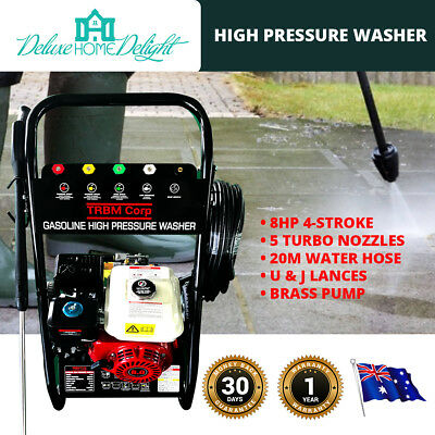 NEW TRBM 8 HP High Pressure Washer Cleaner Water Pump 20M Hose 5 Turbo Nozzles