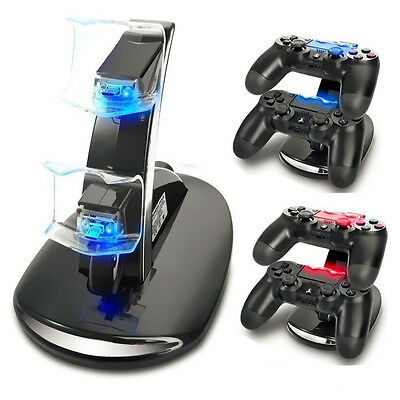 PlayStation PS4 Dual Controller LED Charger Dock Station USB Charging Stand UK