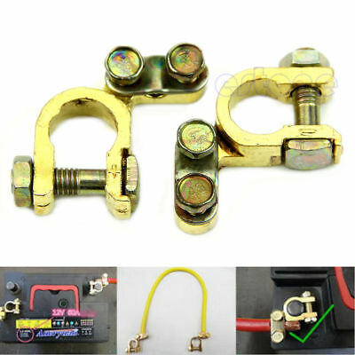 Durable 2Pcs Replacement Auto Car Battery Terminal Clamp Clips Brass Connector