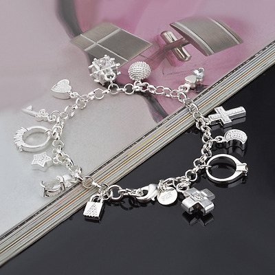 Vintage Women 925 Silver Plated Charm Pendant Bangle Chain Bracelet Jewelry Gift