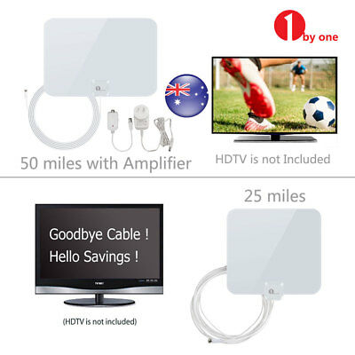 Ultra Thin Digital Indoor HDTV TV Antenna 1080P UHF VHF FM Freeview Channels