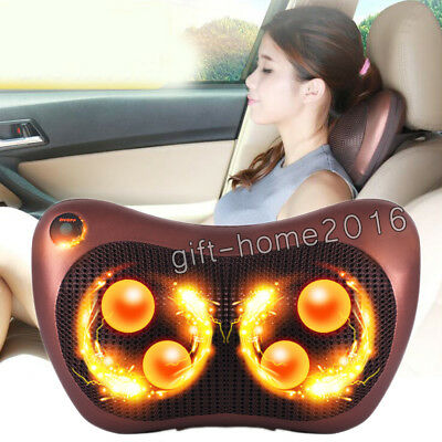 Neck /Back /Shoulder Electric Massager Heat with 4 Rollers Relax Massage Pillow